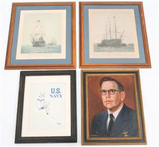 US NAVY PORTRAIT PAINTINGS & USN LITHOGRAPHS LOT