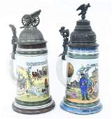 20TH C. GERMAN MILITARY PORCELAIN STEINS LOT OF 2