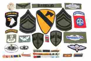 WWII - VIETNAM WAR US ARMY ABN & MACV INSIGNIA LOT