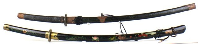TWO WAKIZASHI STYLE JAPANESE SWORDS