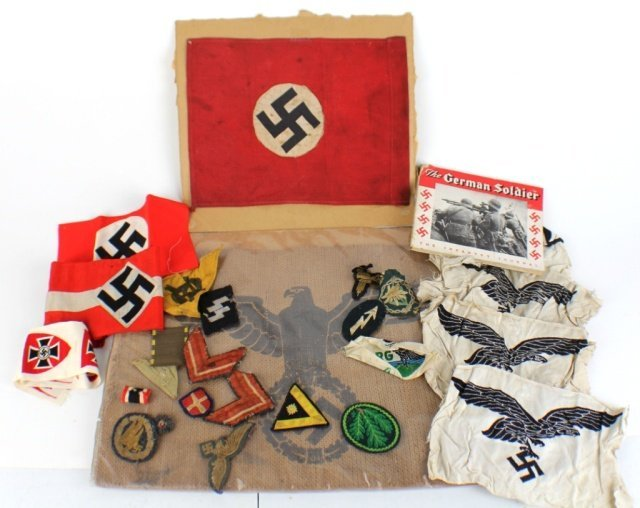 GERMAN WWII FLAG AND PATCH MEMORABILIA LOT