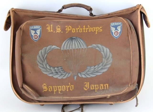 HANDPAINTED WWII 11TH AIRBORNE DIVISION FLIGHT BAG - 2