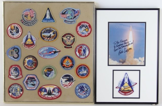 FRAMED NASA SHUTTLE PATCH AND SIGNATURE LOT