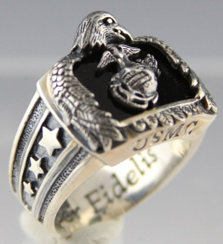 STERLING US MARINE CORPS MENS RING