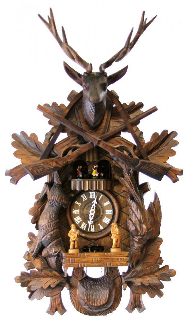 BLACK FOREST HUNTING MOTIF CUCKOO STAG HEAD CLOCK
