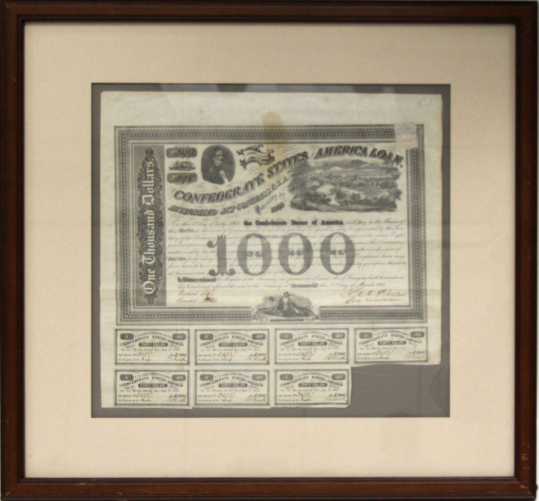 FRAMED $1000 CONFEDERATE BOND SHEET