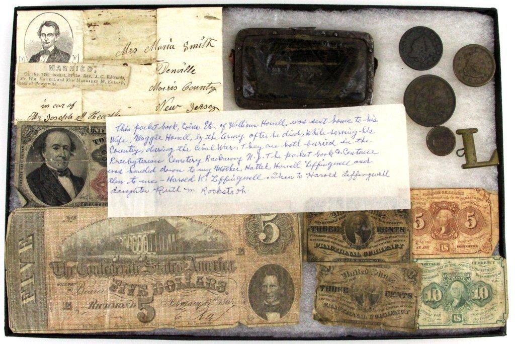 PERSONALS & MONEY OF FALLEN CIVIL WAR SOLDIER