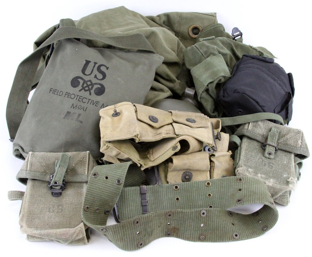 MIXED MILITARY CANVAS EQUIPMENT ITEMS GAS MASK