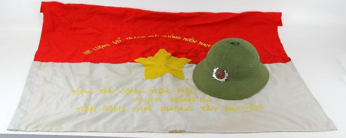 VIETNAM WAR CAPTURE LOT BATTLE FLAG & HELMET