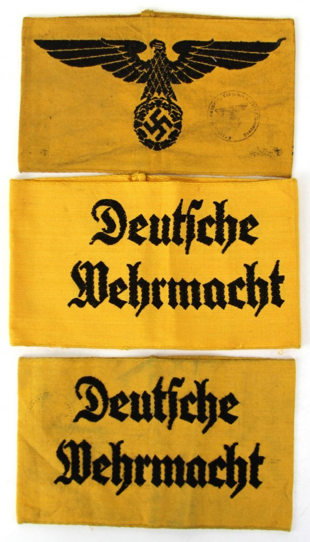 3 WWII GERMAN STATE AND WERMACHT SERVICE ARMBANDS