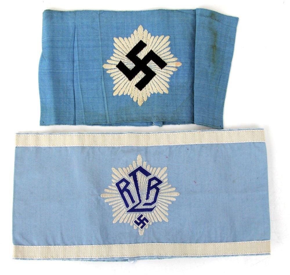 WWII GERMAN RLB LEADER & RLB 2nd PATTERN ARMBANDS