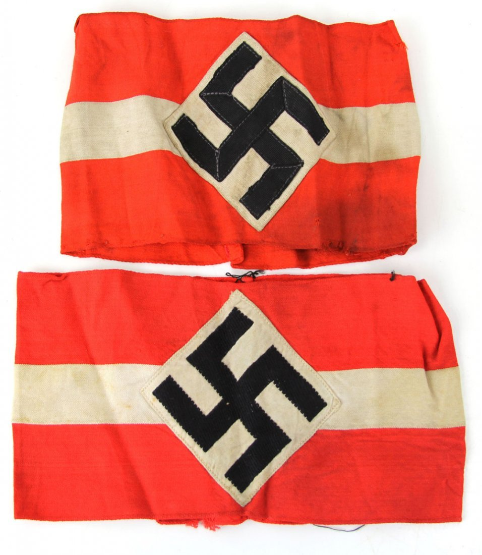 2 WWII GERMAN HITLER YOUTH ARMBANDS