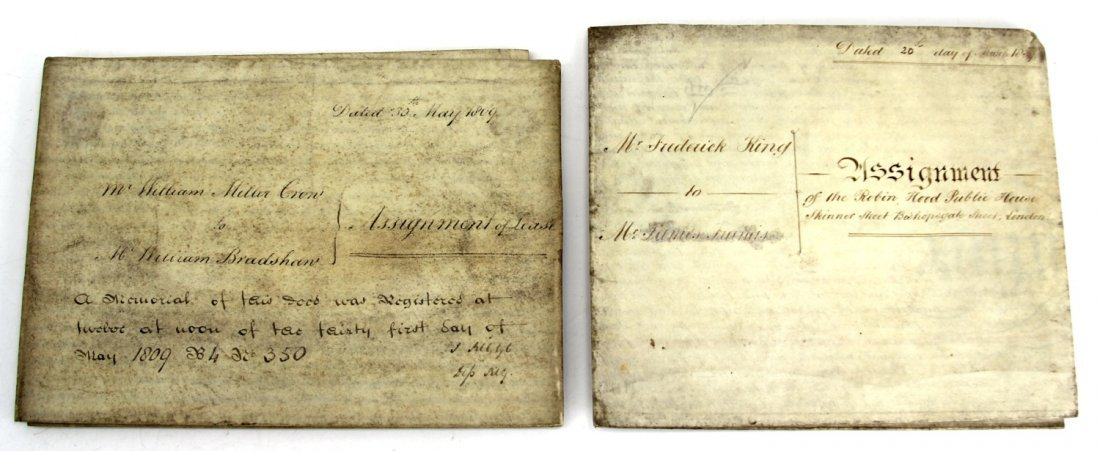 PAIR OF OLD LONDON VELLUM LEASES