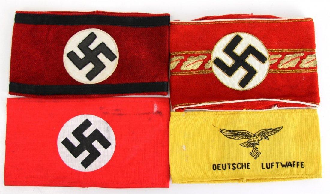 4 WWII GERMAN ARMBANDS