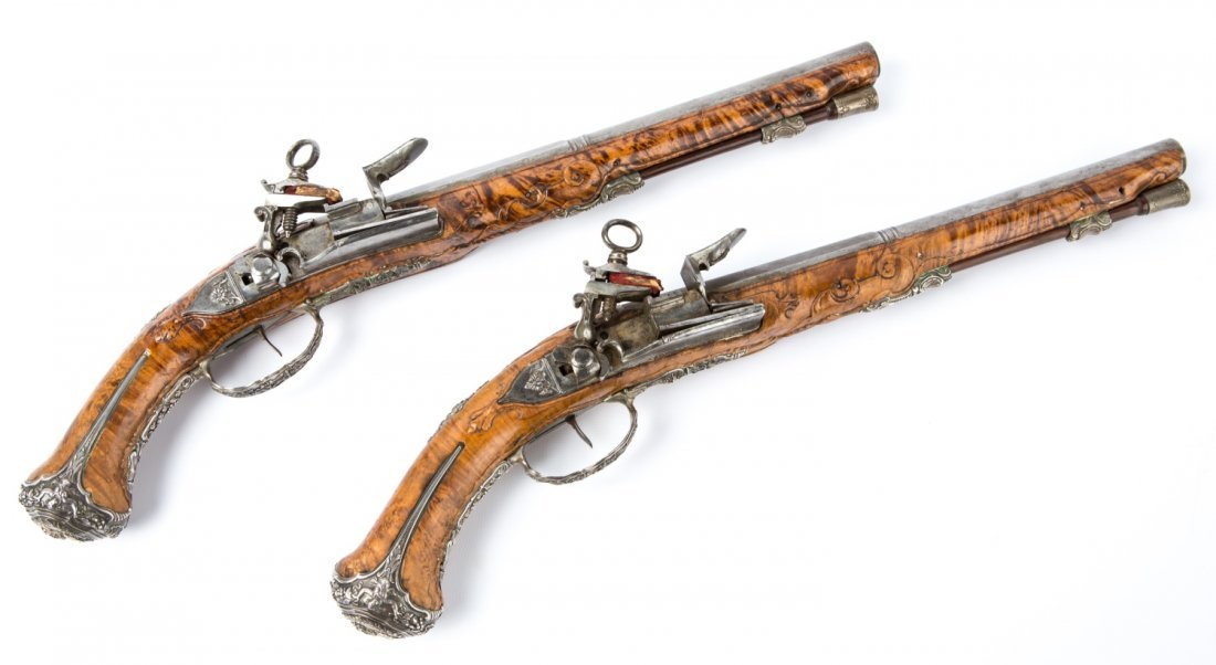 VERY FINE PAIR OF 18th C BURL ITALIAN FLINTLOCK PISTOLS