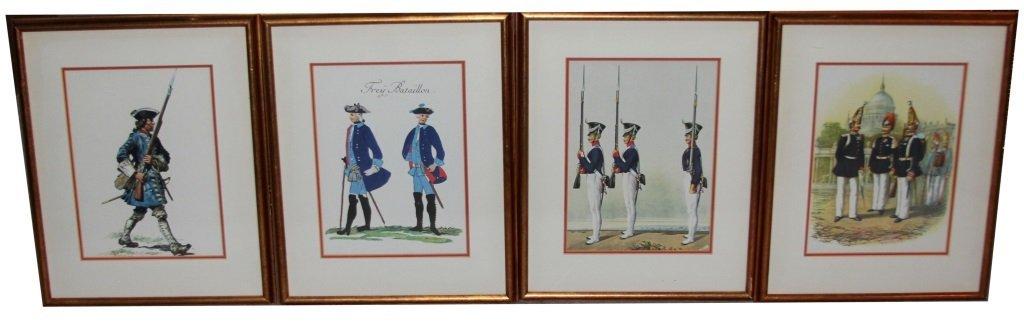 4 FRAMED EUROPEAN SOLDIER PRINTS