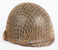 WWII US M-1 HELMET WITH LINER AND FISHNET COVER