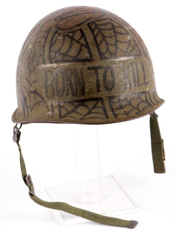 VIETNAM WAR US DECORATED M-1 HELMET WITH LINER