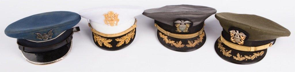 LOT OF 4 US OFFICER'S VISOR CAPS