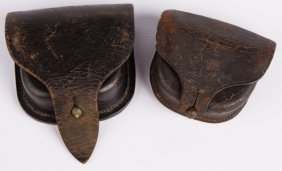 Civil War Leather Cap Box Lot Of 2