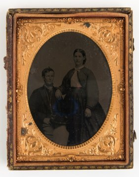 Civil War 1/4 Plate Tintype Union Soldier & Wife