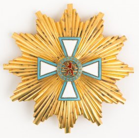 Luxembourg Order Of Merit Gold Breast Star Badge
