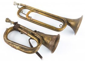 Antique Military Bugle Lot Of 2