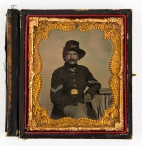 Civil War 1/6 Plate Tintype Of A Union Soldier
