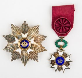 Belgian Order Of The Crown Breast Star And Badge