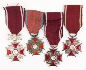 Polish Cross Of Merit Medal Lot Of 4