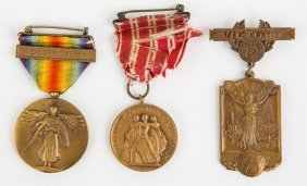 Wwi Us Navy Medal Lot Of 3