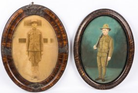 Wwi Us Oval Frame Soldier Photo Lot Of 2