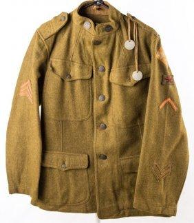 Wwi Us Army 4th Division Machine Gun Jacket & Tags