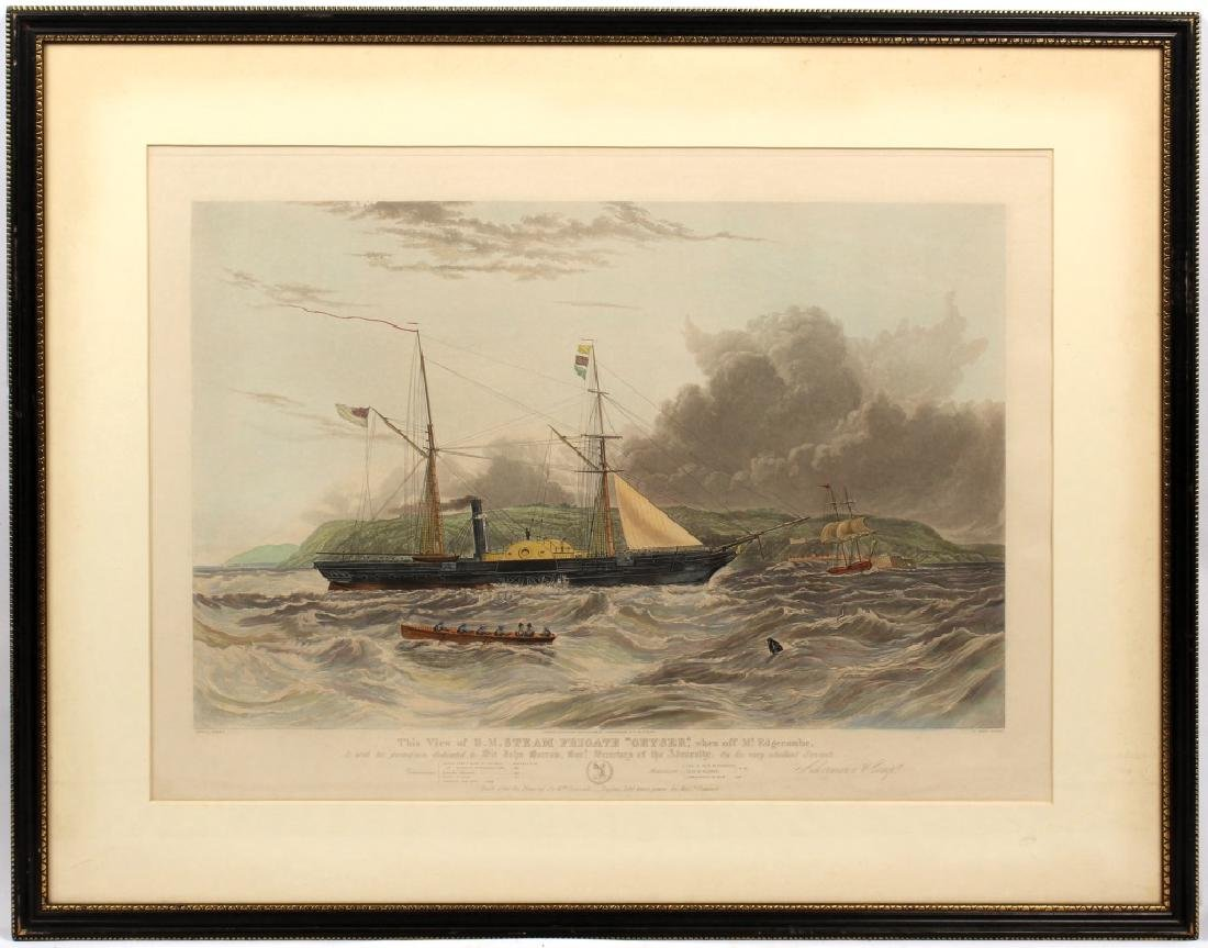 HM STEAM FRIGATE GEYSER FRAMED PRINT
