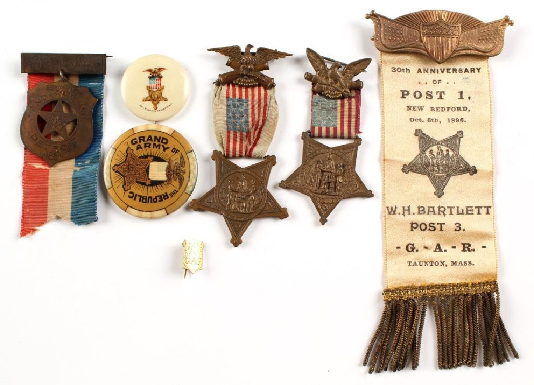 G.A.R. CIVIL WAR MEDAL AND RIBBON LOT OF 7
