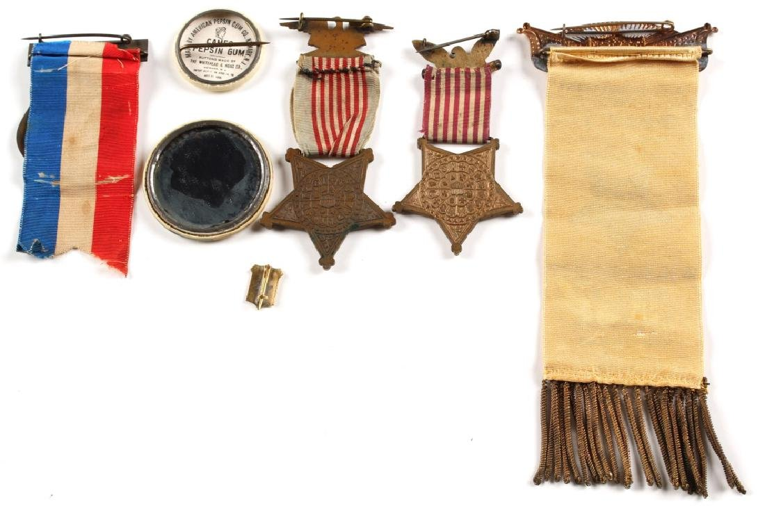 G.A.R. CIVIL WAR MEDAL AND RIBBON LOT OF 7 - 2