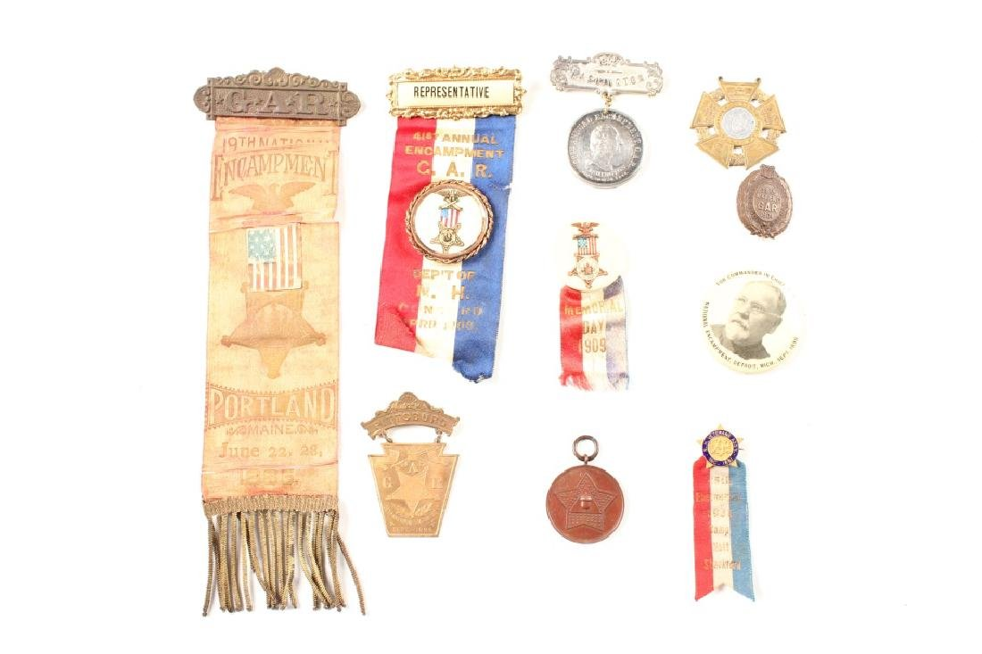 G.A.R. CIVIL WAR RIBBON AND MEDAL LOT OF 10