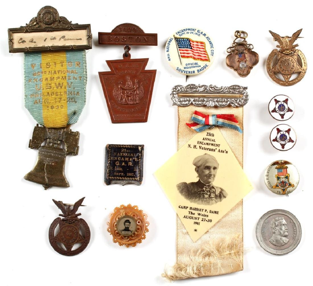 G.A.R. CIVIL WAR RIBBON AND MEDAL LOT OF 13