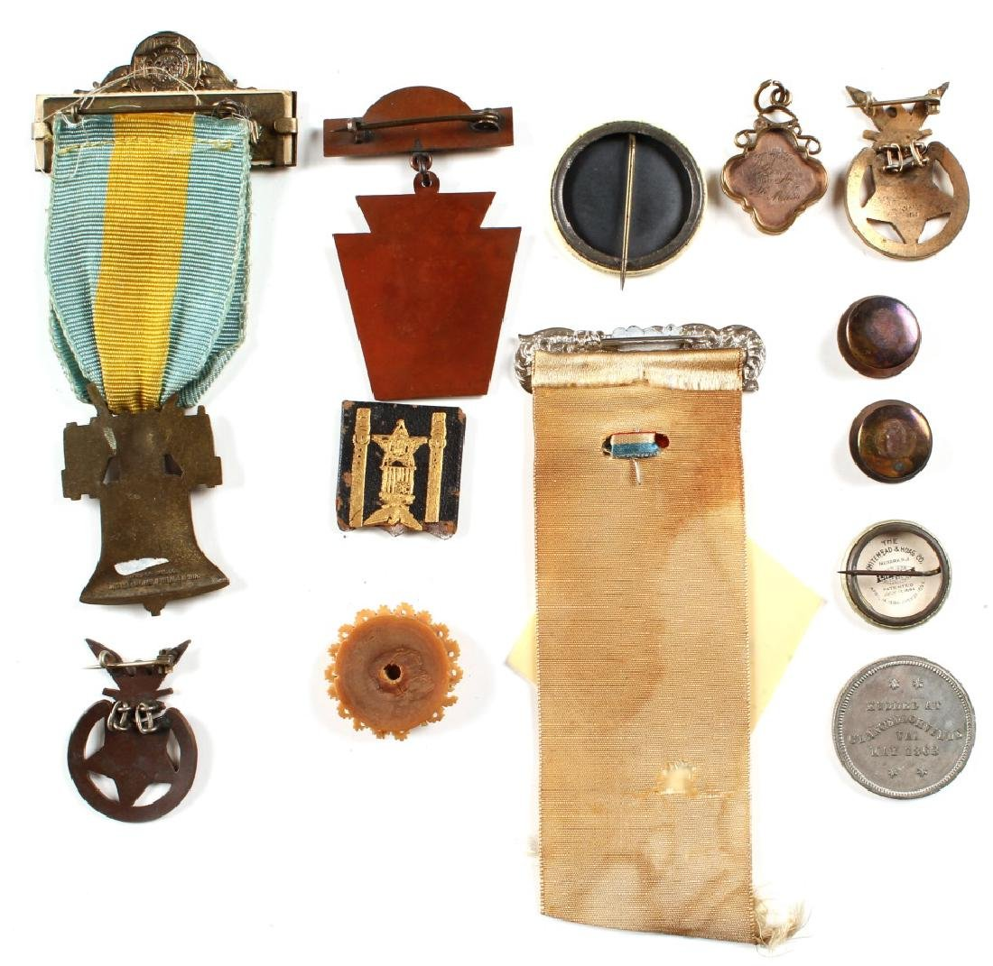 G.A.R. CIVIL WAR RIBBON AND MEDAL LOT OF 13 - 2