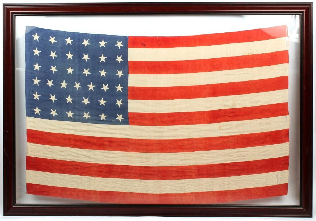 FRAMED 37 STAR SILK US FLAG