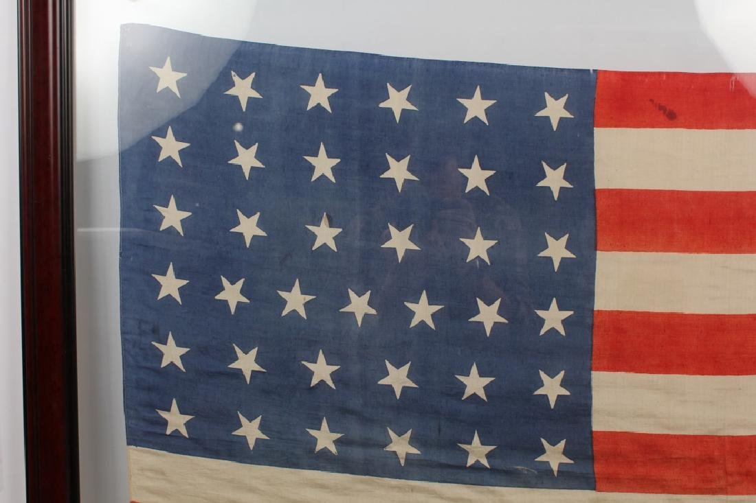 FRAMED 37 STAR SILK US FLAG - 3