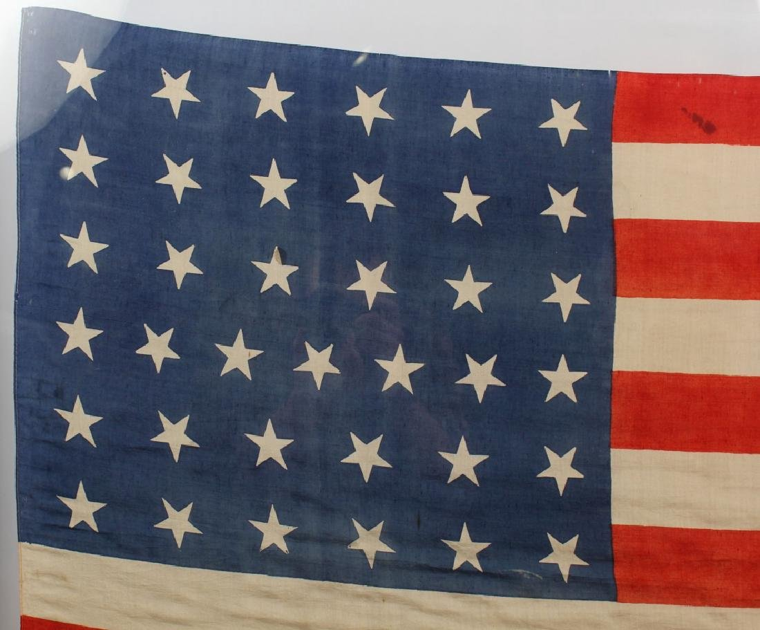 FRAMED 37 STAR SILK US FLAG - 4