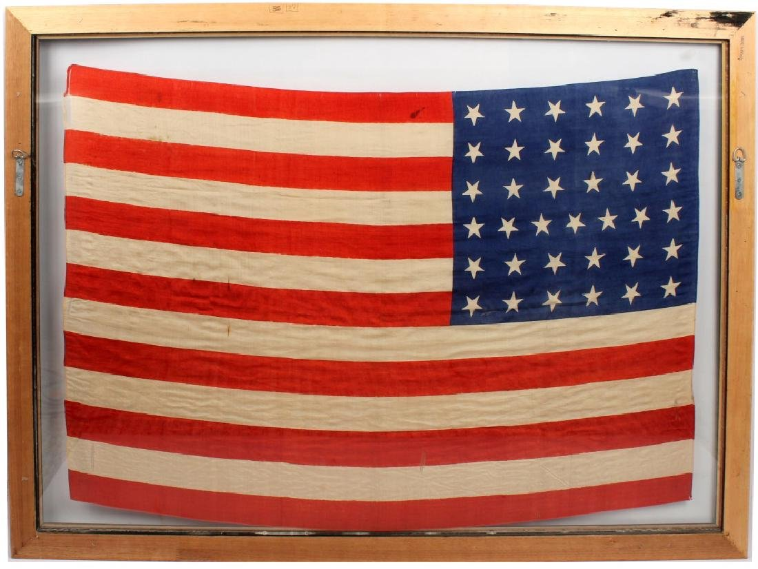 FRAMED 37 STAR SILK US FLAG - 5