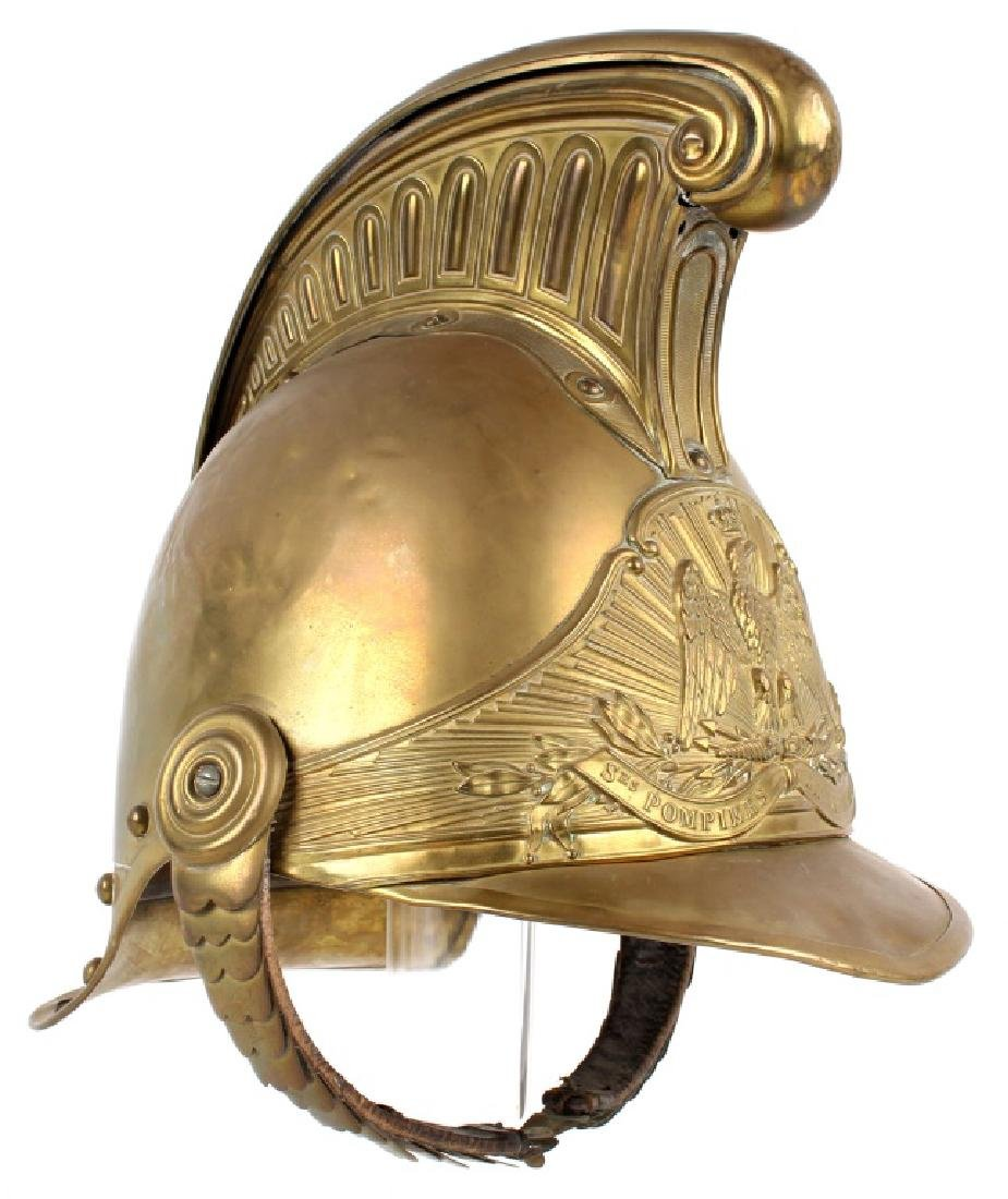 FRENCH FIREFIGHTER BRASS HELMET - 2
