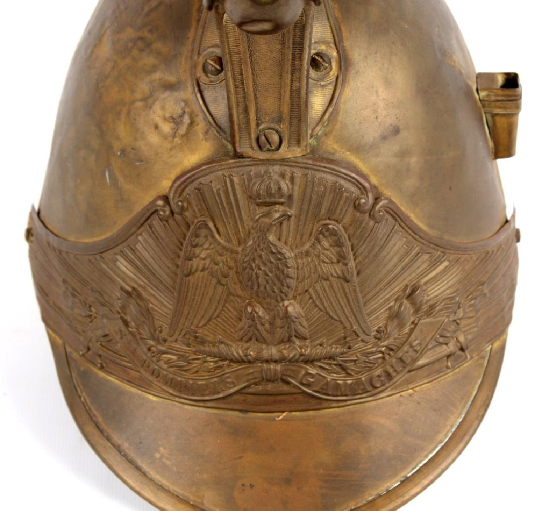 FRENCH FIREFIGHTER BRASS HELMET - 3