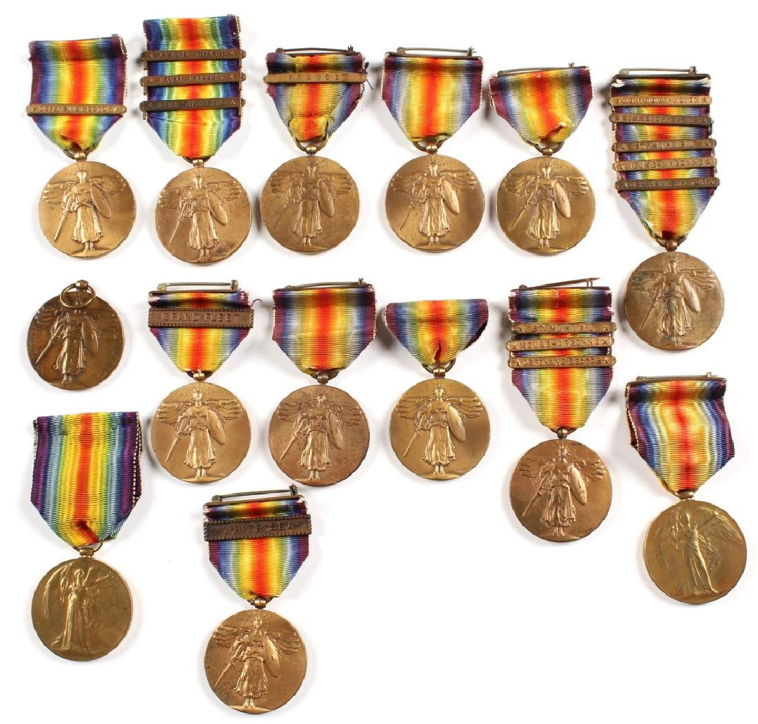 WWI US AND BRITISH VICTORY MEDAL LOT OF 14