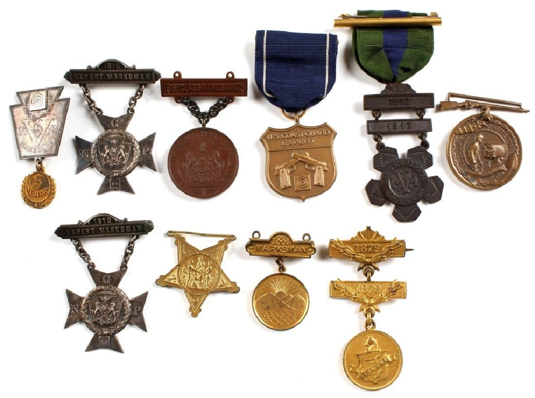 US MILITARY AND OTHER MARKSMEN MEDAL LOT OF 10