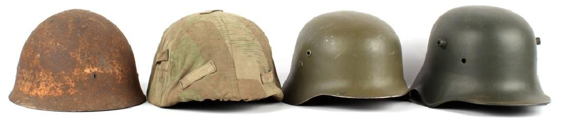 WWII EUROPEAN AND JAPANESE HELMET LOT OF 4