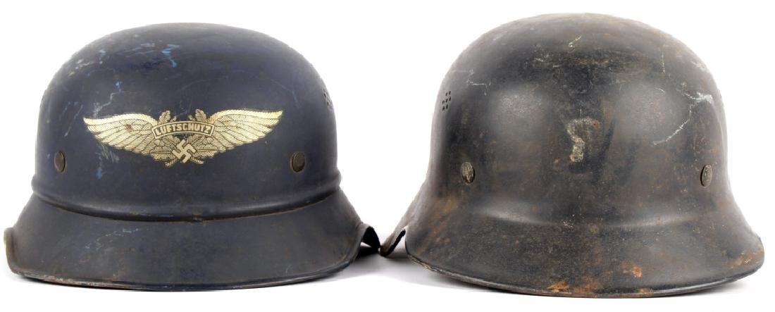 WWII GERMAN LUFTSCHUTZ HELMET LOT OF 2
