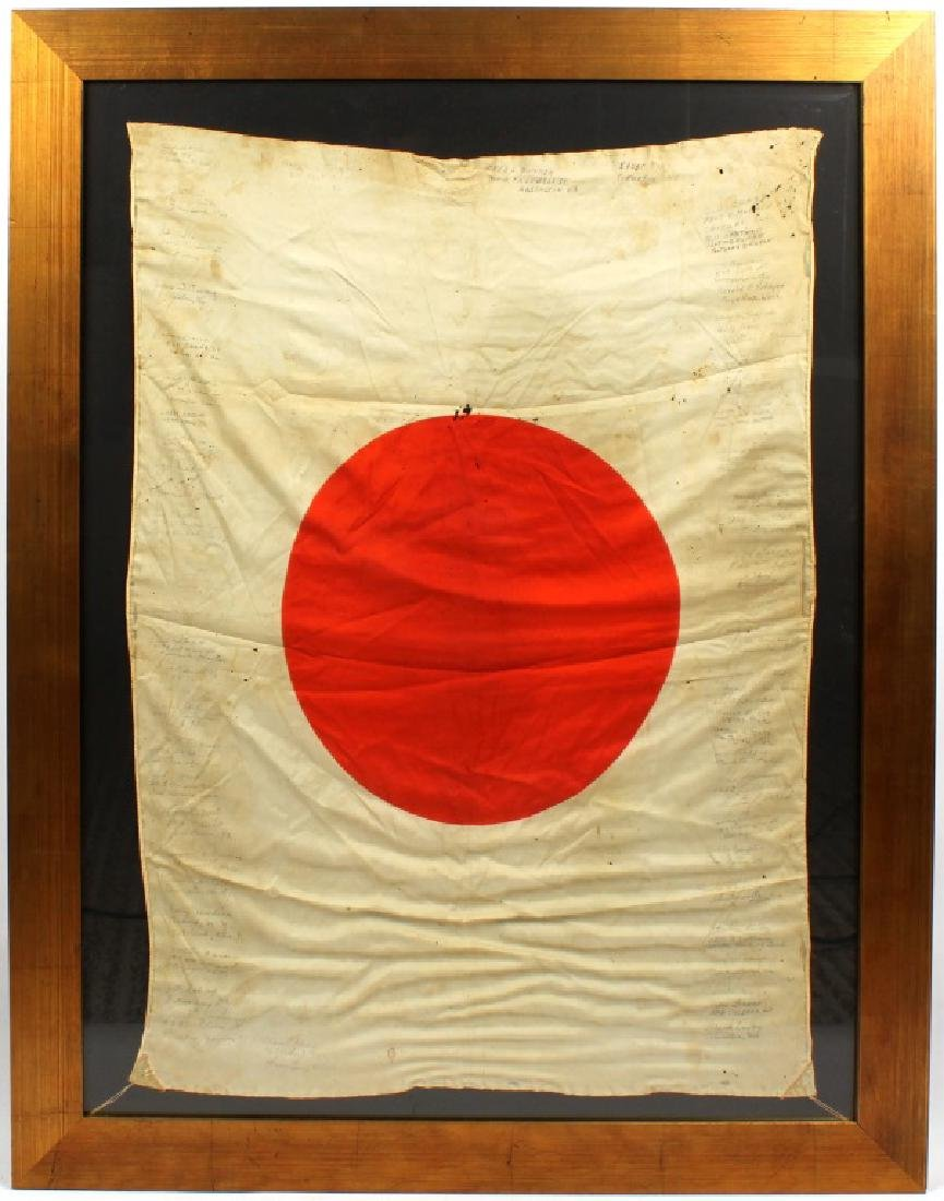 WWII JAPANESE SILK FLAG CAPTURED & SIGNED BY US